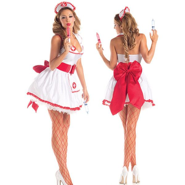 Sexy Nurse Costume 3pc White and Red Dress, Hat, Belt Small/Medium... ($30) ❤ liked on Polyvore featuring costumes, adult costumes, womens snow white costume, sexy costumes, sexy women halloween costumes and womens costumes