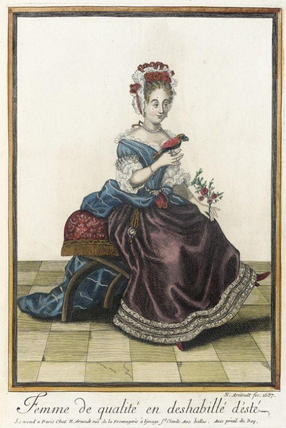 Recueil des modes de la cour de France, 'Femme de Qualité en Deshabilé d'Esté' 1687 | LACMA Collections