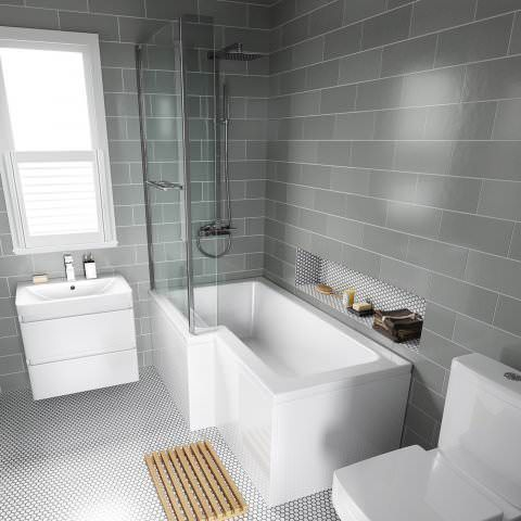 1500mm Left Hand L-Shaped Bath with 6mm thick Screen, rail & front panel - soak.com