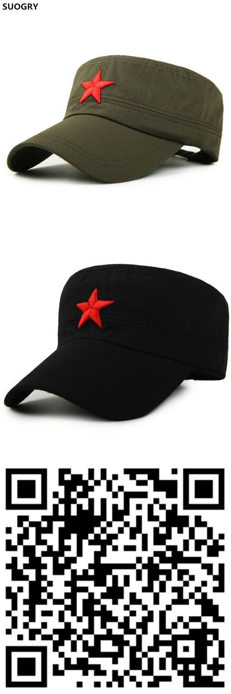 SUOGRY Military Cap Red Star Embroidery Cap Military Hat Army Green Flat Hats for Men Women Vintage Bone Male Female Army Sun Ha #MilitaryHatsForWomen