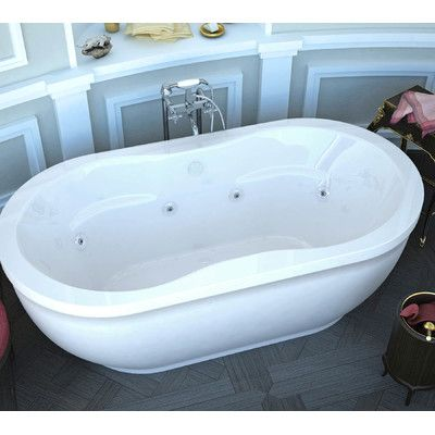 "Spa Escapes Vivara 71.25"" x 35.87"" Oval Freestanding Air & Whirlpool Water Jetted Bathtub with Center Drain & Reviews 