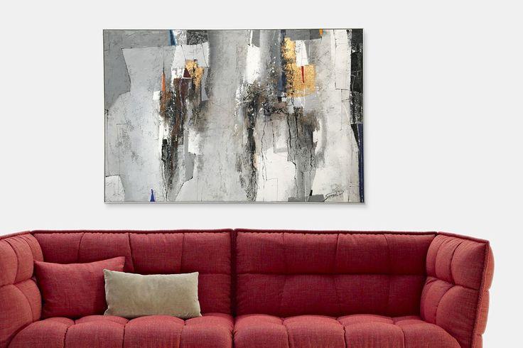 Dipinto informale rosso di Paolo Semenzato, perfetto per ambienti di Interior Design | fluidofiume Galleria d'arte