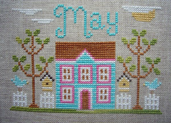 pretty May cottage from Country Cottage Needleworks, stitched by Carole at brummieblogger.typepad.com