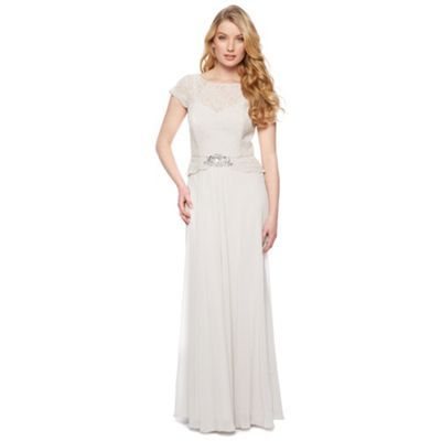 No. 1 Jenny Packham Designer light grey lace bodice maxi dress- at Debenhams.com