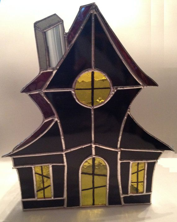 Handmade Stained Glass Haunted House Candle Holder by QTSG on Etsy