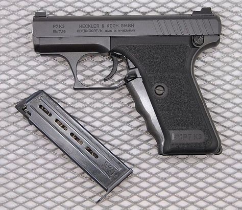 HECKLER & KOCH P7K3 In 1984 Heckler & Koch introduced a new variant of their successful P7 pistol. Unlike the P7, chambered in 9x19mm, the P7K3 can be converted to fire three different calibres: .380 ACP, .32 ACP and .22 LR. This gave rise to the pistol's K3 or 'Kalibers 3′ designation.