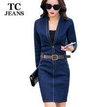 TC Calça Jeans Vestido das Mulheres 2016 Primavera Outono Moda Casual Azul Fino V Pescoço Cintos de Corpo Inteiro A Linha Plissado Denim Vestido FT00244(China (Mainland))