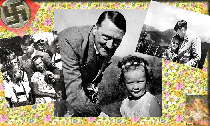 Mr. Adolf Hitler posing with smiling children.    Herr Adolf Hitler posiert mit lächelnden Kindern.