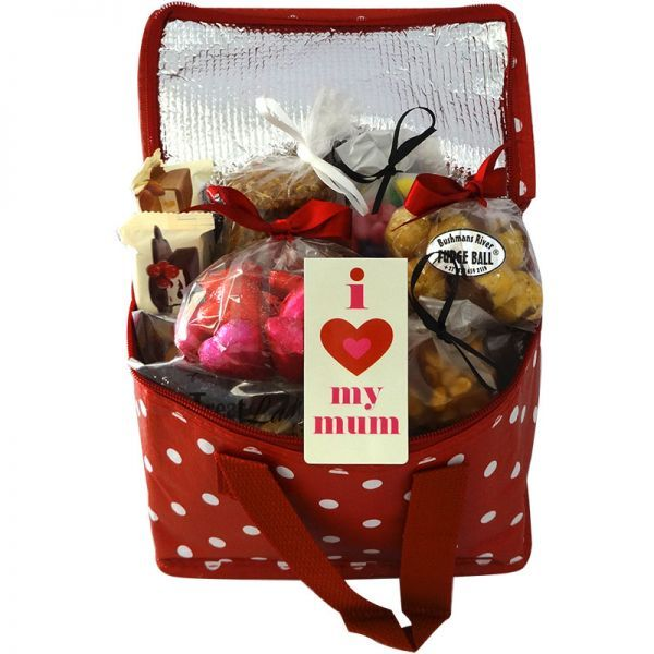 "This beautiful Cooler Lunch Bag is filled with all sorts of yummy sweets and snacks to keep Mom happy!  Spoil her with biltong, dried wors, nuts, dried fruit, chocolates and an ""I Love My Mum"" Magnetic Bookmark.  Gift Lady delivers beautiful wine, snack, treats and gift hampers to any destination in South Africa."