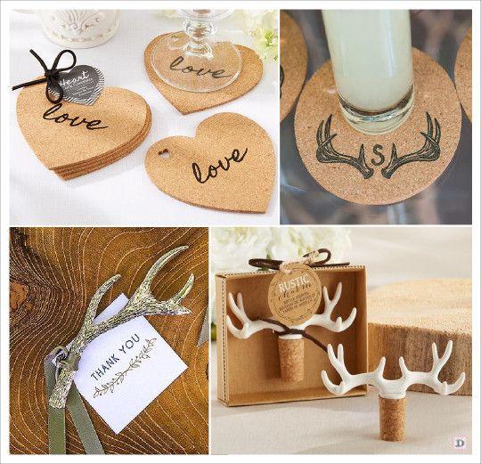 mariage rustique cadeaux invités coeur dessous verre liège décapsuleur bois cerf bouchon stopper