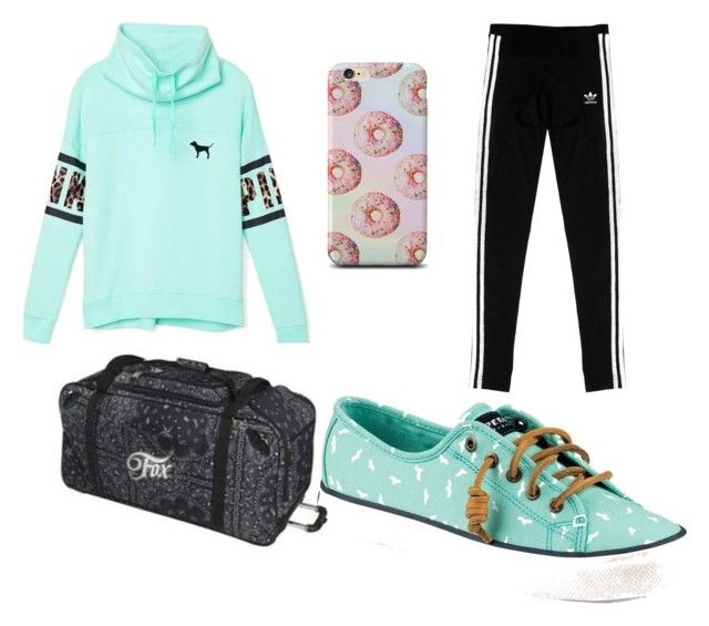 """tracksuit"" by caoimheod on Polyvore featuring adidas Originals, Victoria's Secret, Sperry Top-Sider, women's clothing, women, female, woman, misses and juniors"