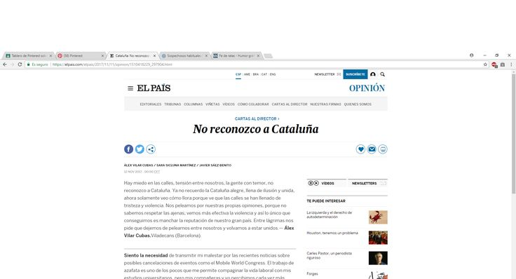 Este articulo de opinión, ( carta al director ) habla de su disconformidad respecto a un tema. Pertenece al periódico El País