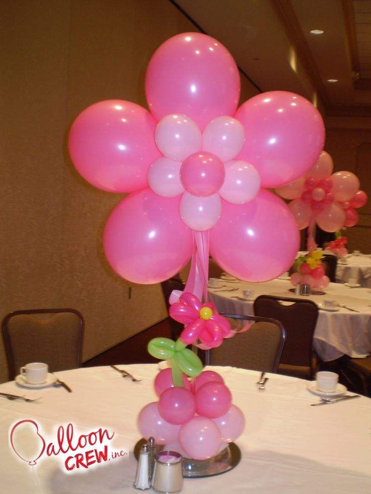 Flower centerpiece balloon centrepieces pinterest for Balloons arrangement decoration