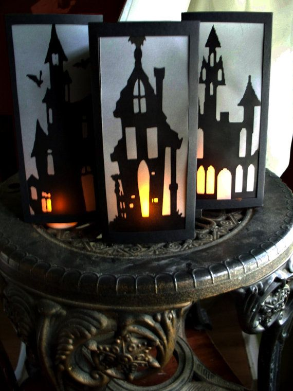 set of 3 halloween decoration haunted house laser printed paper lantern luminaries bats in the