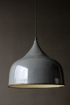Large Columbia Enamel Ceiling Light in Blue Grey