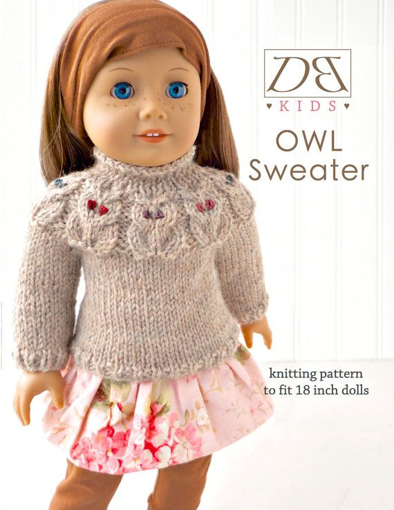 Doll clothes knitting pattern PDF for 18 inch American Girl type doll (AG doll): Owl Yoke Sweater
