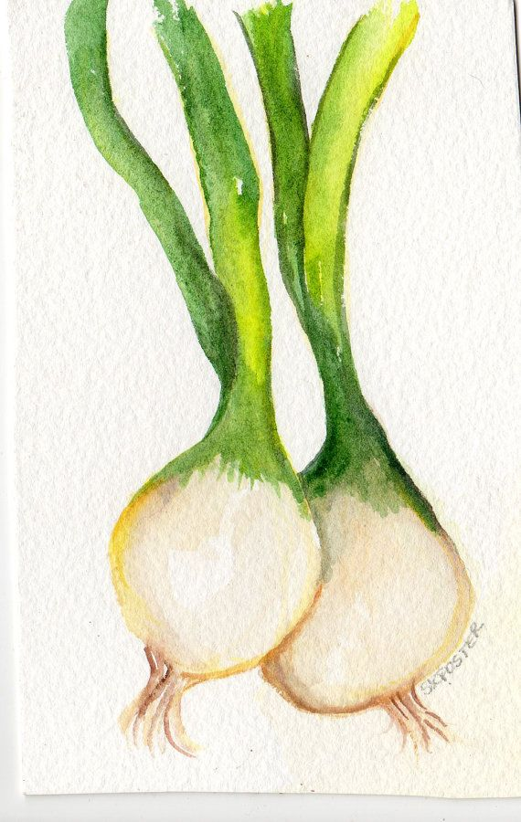 Original Spring Onions  Painting watercolor Vegetable Series, 4 x 6