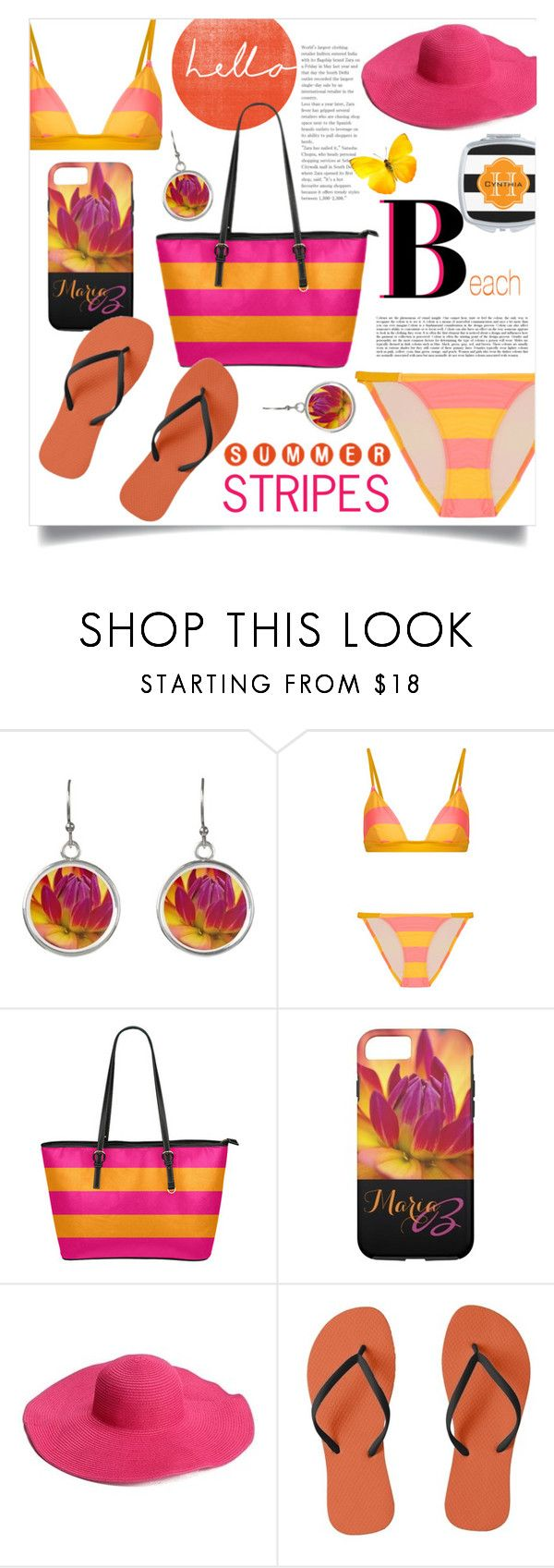 """""""Pink & Orange Beachwear"""" by colormegirly ❤ liked on Polyvore featuring Paul Frank, Solid & Striped, beachday, beach, handbags and polyvoreset"""