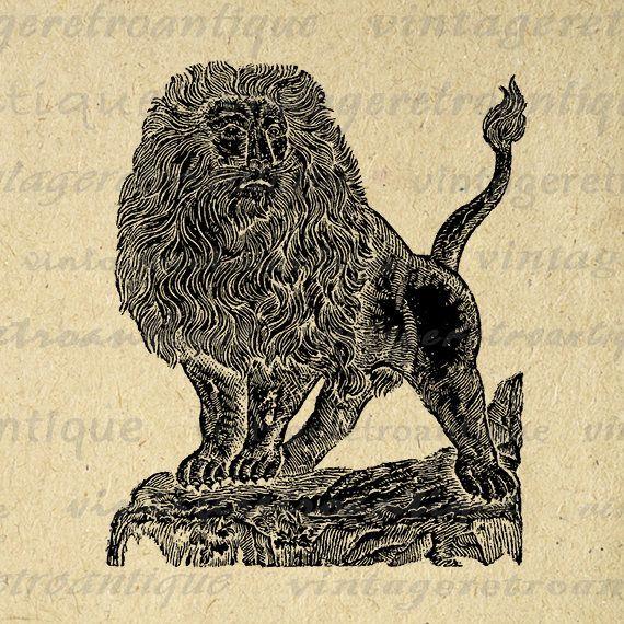Majestic Lion Digital Graphic Printable Image Antique Lion
