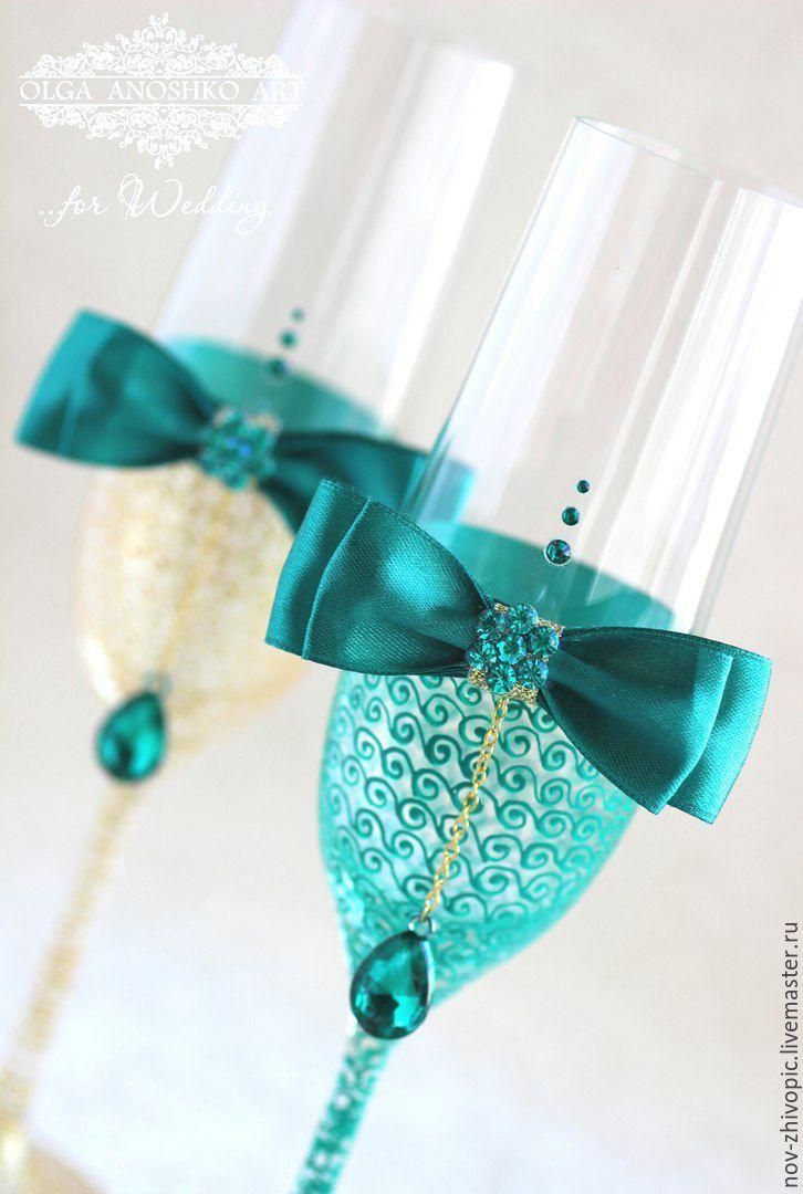 """Купить Свадебные бокалы """"l amour"""" (золото и изумруд) с подвесками. - свадебные бокалы, бокалы для свадьбы"""