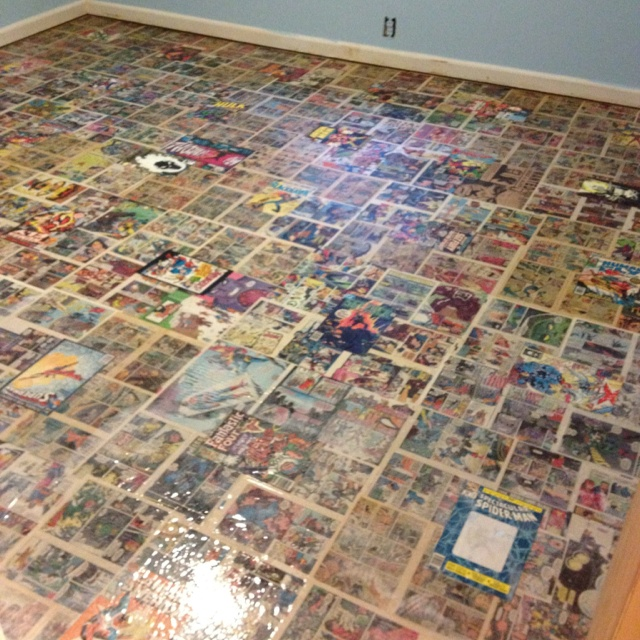 Comic book floor!!! My sons room is so awesome!!!
