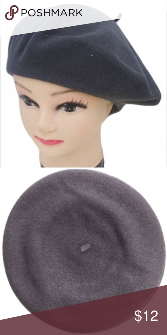 Beret ON SALE Solid wool beret. One Size. Brand new. Super cute and trendy. Color grey. Shown on mannequin head. Additional pictures added for reference Accessories Hats
