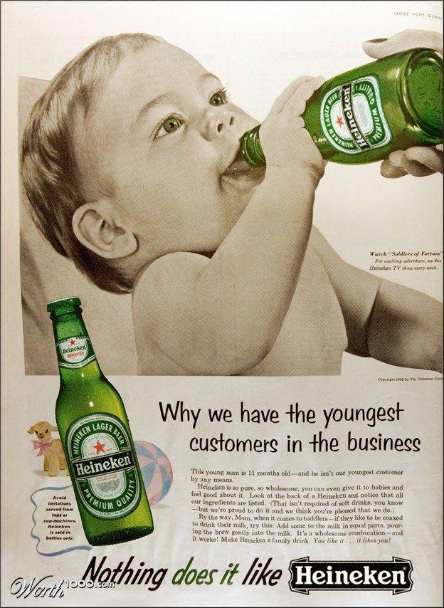 This is an actual old school Heineken advertisemen. Oh my!