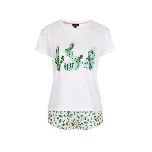 TopShop Petite Cactus Heart Pyjama Set (346.800 IDR) ❤ liked on Polyvore featuring intimates, sleepwear, pajamas, pink, cotton pajamas, cotton sleepwear, petite pajamas, pink sleepwear and petite pajama sets
