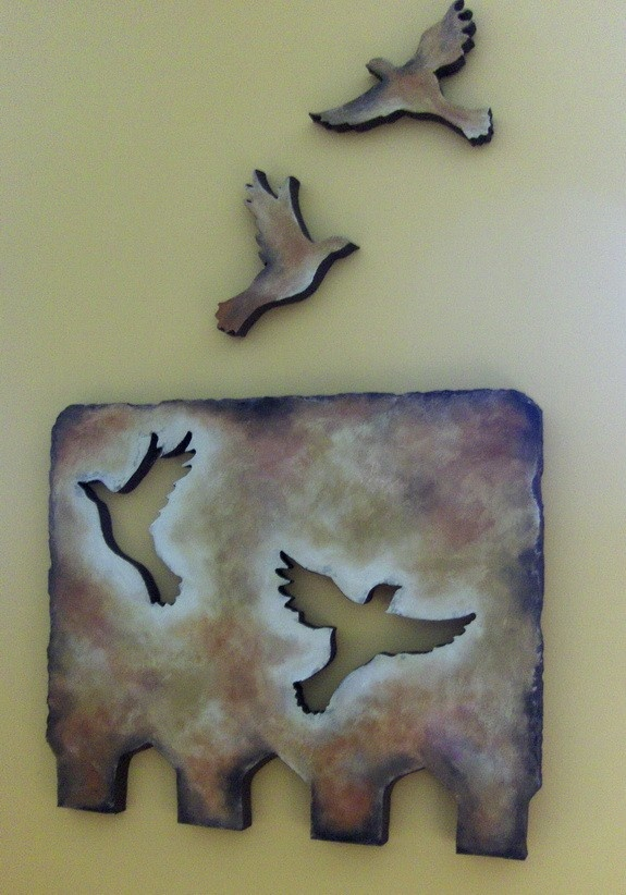 Clever Cut-Outs - Sunrise Scatter Art Plaque - Original Styro Art - Textured Painting