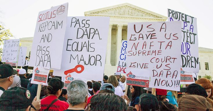 During an extended argument, the justices occasionally paused to acknowledge realities outside the courtroom in connection with the president's plan to shield millions from deportation.