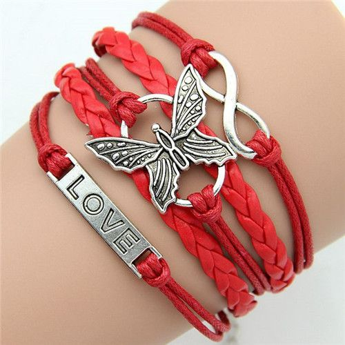 Emi Love Butterfly Infinity Charm Braided Bracelet - Red www.evcostudio.online Silver Charm Butterfly Love Infinity Red Bracelet Fashion Jewelry Red Leather Cuff Bangle