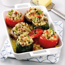 Vegetarische ovenschotel met tomaat, courgette en portobello!!