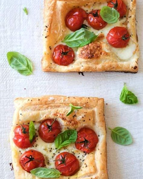 Caprese Tarts Recipe - All you need is some puff pastry, good mozzarella, sweet tomatoes and fresh basil.