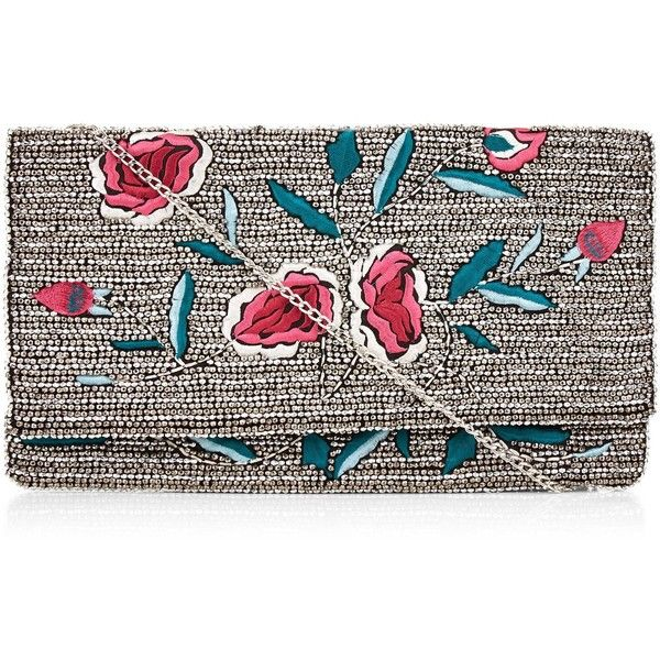 New Look Silver Floral Embroidered Beaded Clutch (€31) ❤ liked on Polyvore featuring bags, handbags, clutches, silver, new look handbags, chain handle handbags, silver clutches, silver purse and beaded clutches