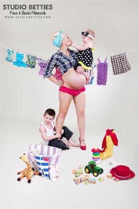 Studio Betties | Twin Cities St. Paul Minneapolis Minnesota Pinup & Boudoir Photography Studio Maternity Pinup www.studiobetties.com  #maternitypinup #maternity #pinup #children #mother #mama #pregnancy #pregnancypinup #clothdiapers #babies #toddler #retro #vintage #strongwoman #redhighheels #johndeere #rosietheriveter