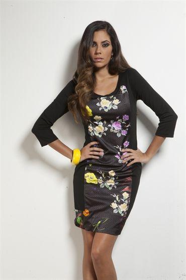 Fehu Black Floral Panel Dress - 53826