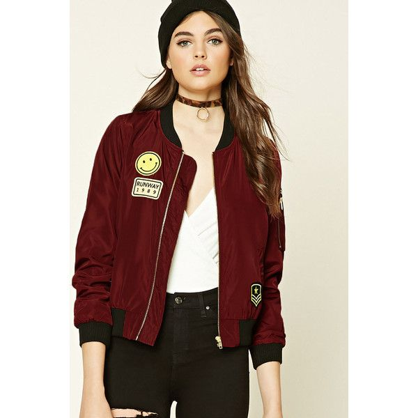 Forever21 Runway Patch Bomber Jacket ($30) ❤ liked on Polyvore featuring outerwear, jackets, wine, shell jacket, military flight jacket, patch jacket, forever 21 jackets and military bomber jacket