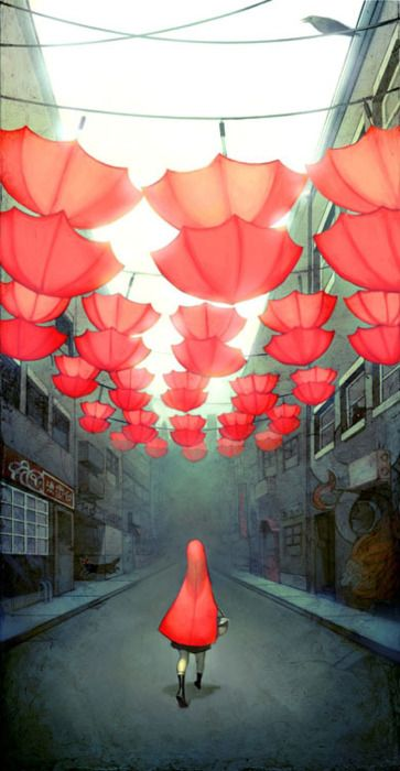 red riding hood under red umbrellas - Rotkäppchen unter roten Schirmen