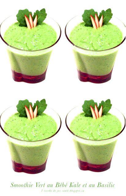 1 recette de kale: Smoothie Vert au Bébé Kale et au Basilic Frais
