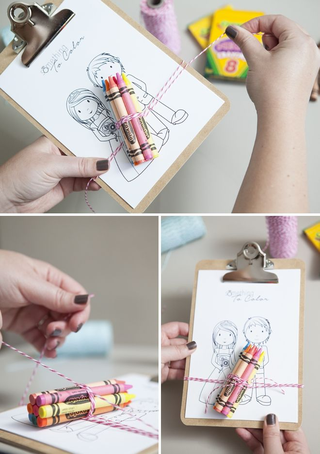 DIY: Make these darling 'mini-clipboard coloring favors' for your young wedding guests! Get these FREE coloring pages on the blog!