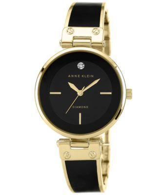 Anne Klein Women's Diamond Accent Black and Gold-Tone Bangle Bracelet Watch 34mm AK-1414 BKGB