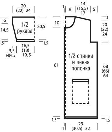 Схема и описание вязания на спицах летнего пальто из журнала «Сабрина» №4/2015