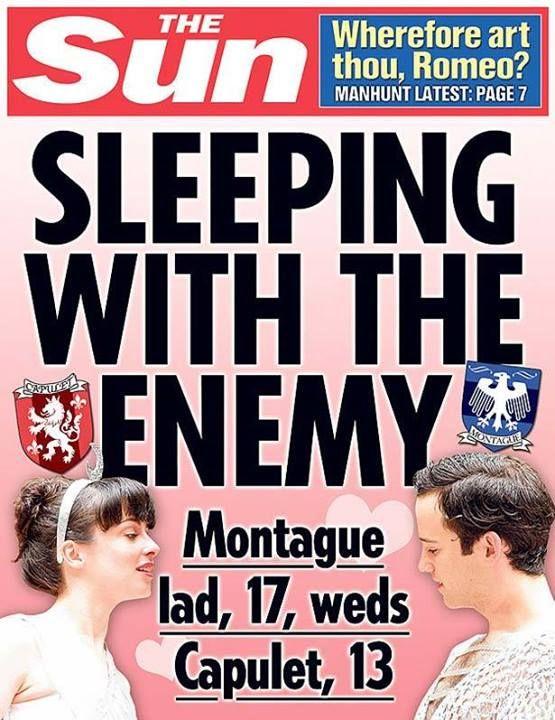 Romeo & Juliet tabloid (seriously, he's seventeen?)