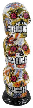 Colorful Floral Day Of The Dead Triple Stacked Sugar Skulls Statue - eclectic - Decorative Objects And Figurines - Zeckos