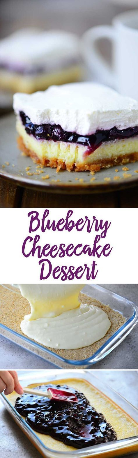 Blueberry Cheesecake Dessert recipe with light airy cheesecake topped with blueberry pie filling and whipped cream.