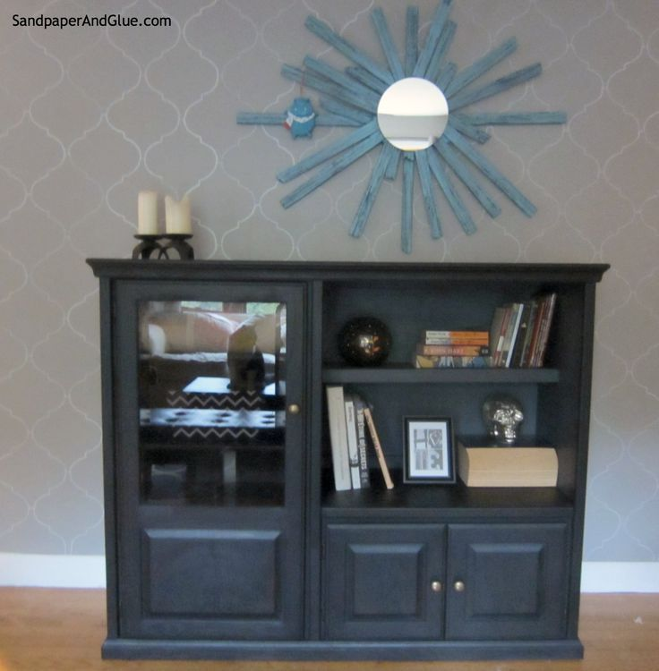 turn an old entertainment center into an update media cabinet by adding a bookshelf to the open space – #adding #bookshelf #Cabinet #Center