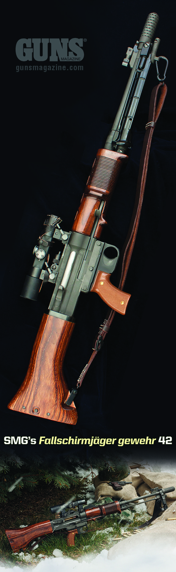 """A Jump Ahead   Germany's Revolutionary Select-Fire FG42 Rifle Should've Electrified Post-War Arms Development. But Didn't! SMG Faithfully Reproduces This Strange, Landmark Rifle Fame Passed By   By Jeff John   On appearance alone, the FG42 belongs atop the list of """"unique and unforgettable"""" arms. Once you handle one, you'll never forget it either…   © GUNS Magazine 2016"""