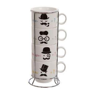 Pack-de-4-tazas-de-cafe-Bigotes-con-soporte-de-metal