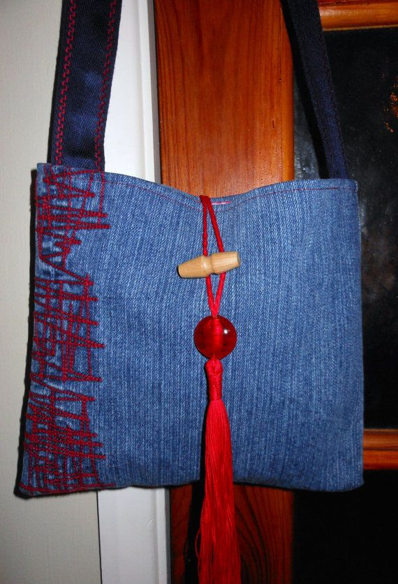 Recycled/Upcycled Denim Shoulder Bag by SewSoftCrafts on Etsy, £17.50