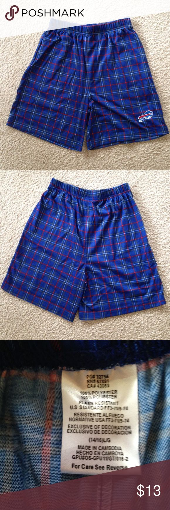 Buffalo Bills Blue Plaid Sleep Shorts Lightweight Sleep Shorts for Boy or Girl! These are in Like New condition.  Flame retardant!  Smoke free! NFL Pajamas Pajama Bottoms